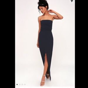 Lulus Own the Night Navy Blue Strapless Maxi Dress